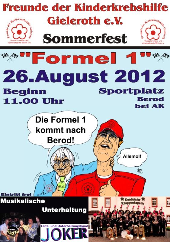 Plakat: Sommerfest 2012 der Kinderkrebshilfe Gieleroth e.V.
