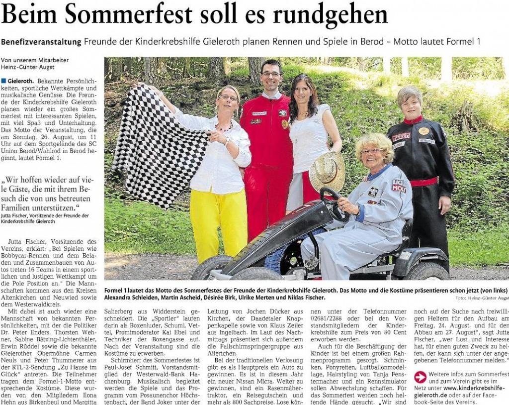 Artikel Sommerfest 2012 in der Rhein-Zeitung